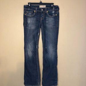 MEK destroyed boot cut jeans medium wash sz 28